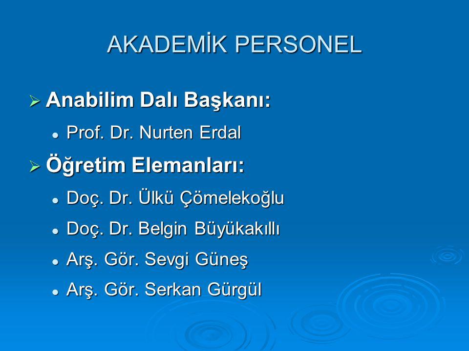 AKADEMİK PERSONEL Anabilim Dalı Başkanı: Öğretim Elemanları: