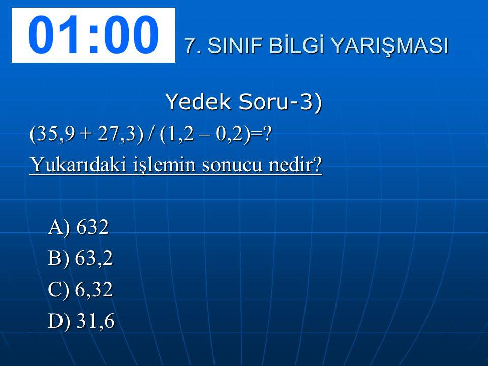 7. SINIF BİLGİ YARIŞMASI Yedek Soru-3) (35,9 + 27,3) / (1,2 – 0,2)= Yukarıdaki işlemin sonucu nedir