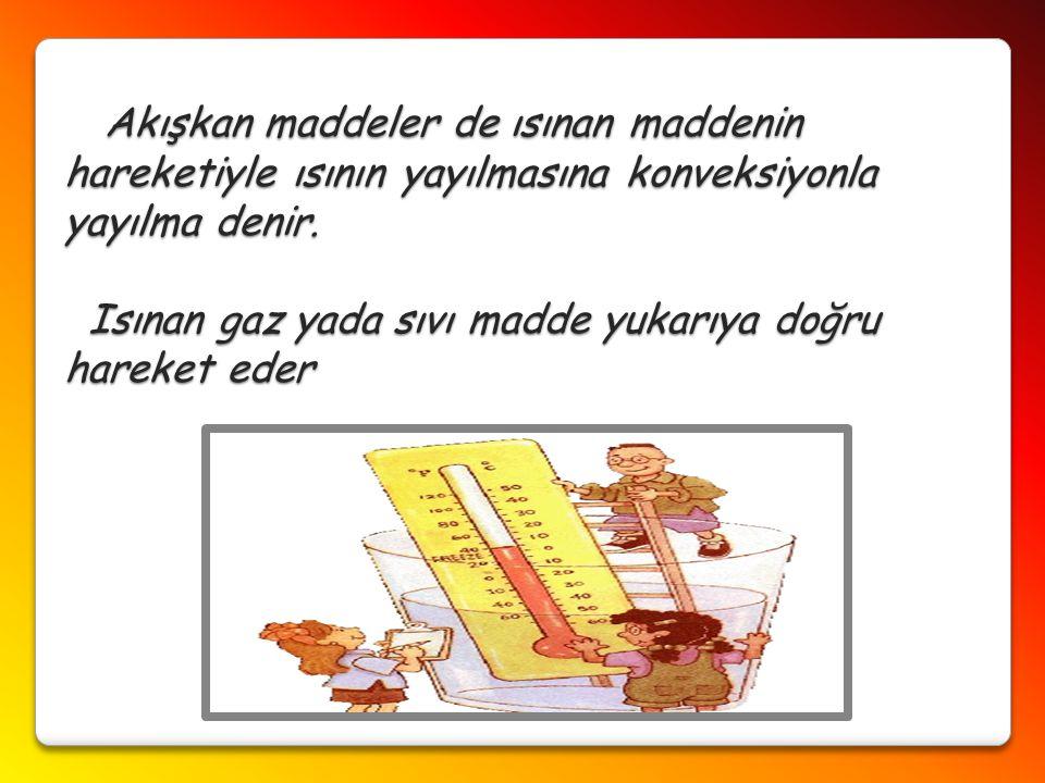 Akışkan maddeler de ısınan maddenin hareketiyle ısının yayılmasına konveksiyonla yayılma denir.