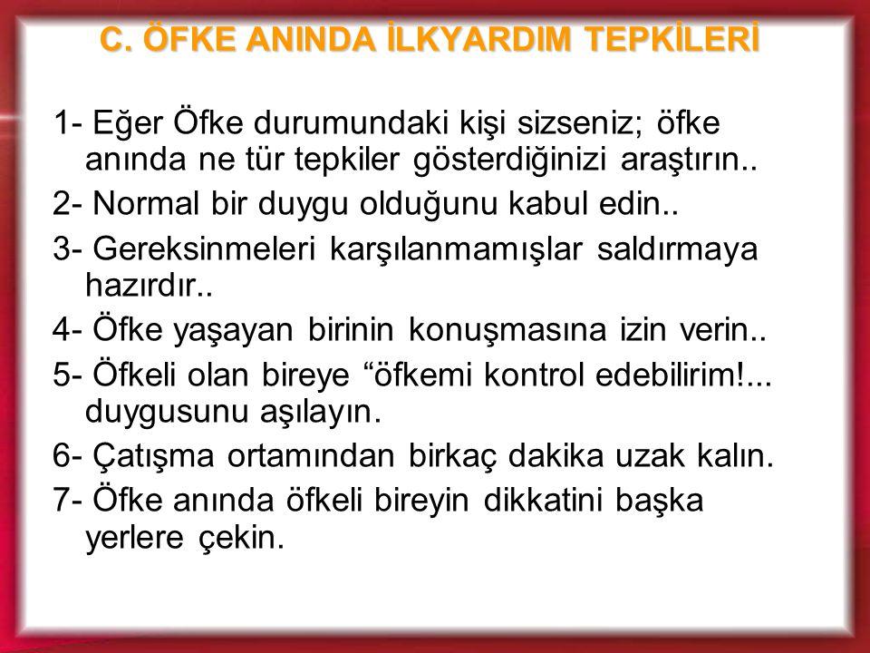 C. ÖFKE ANINDA İLKYARDIM TEPKİLERİ