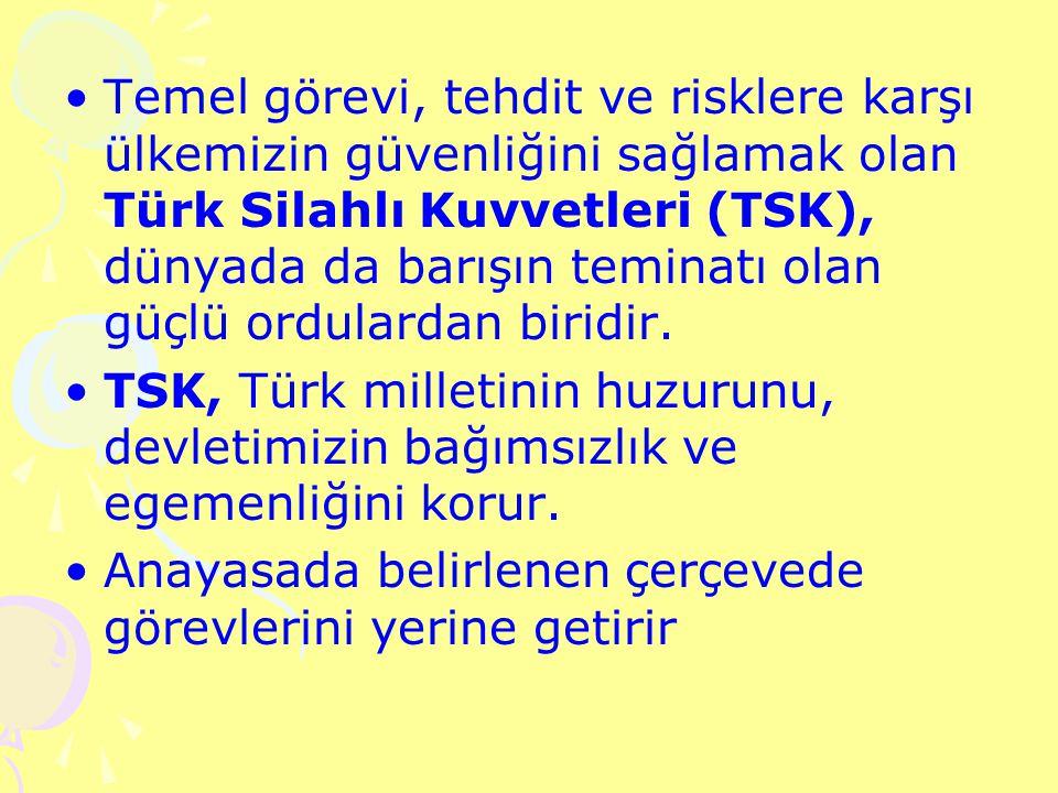 Temel görevi, tehdit ve risklere karşı ülkemizin güvenliğini sağlamak olan Türk Silahlı Kuvvetleri (TSK), dünyada da barışın teminatı olan güçlü ordulardan biridir.