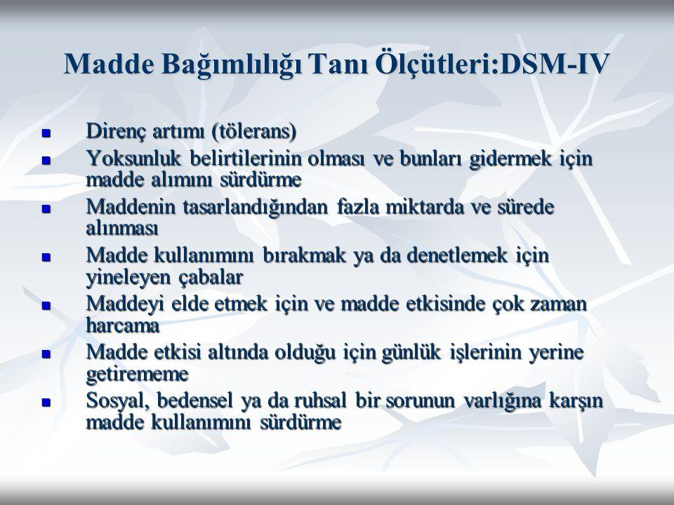 Madde Bağımlılığı Tanı Ölçütleri:DSM-IV