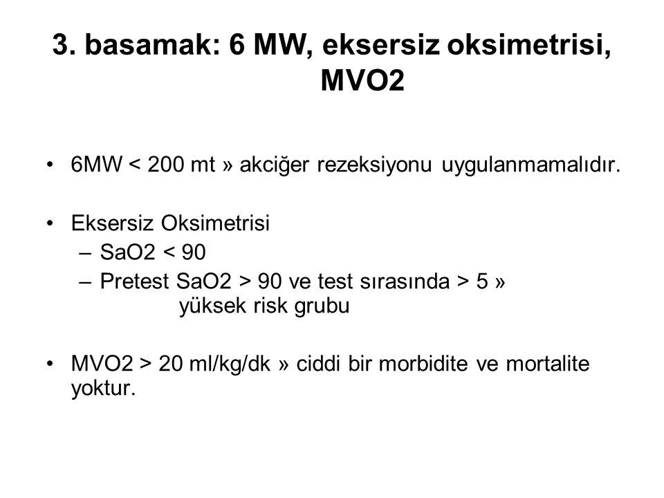 3. basamak: 6 MW, eksersiz oksimetrisi, MVO2