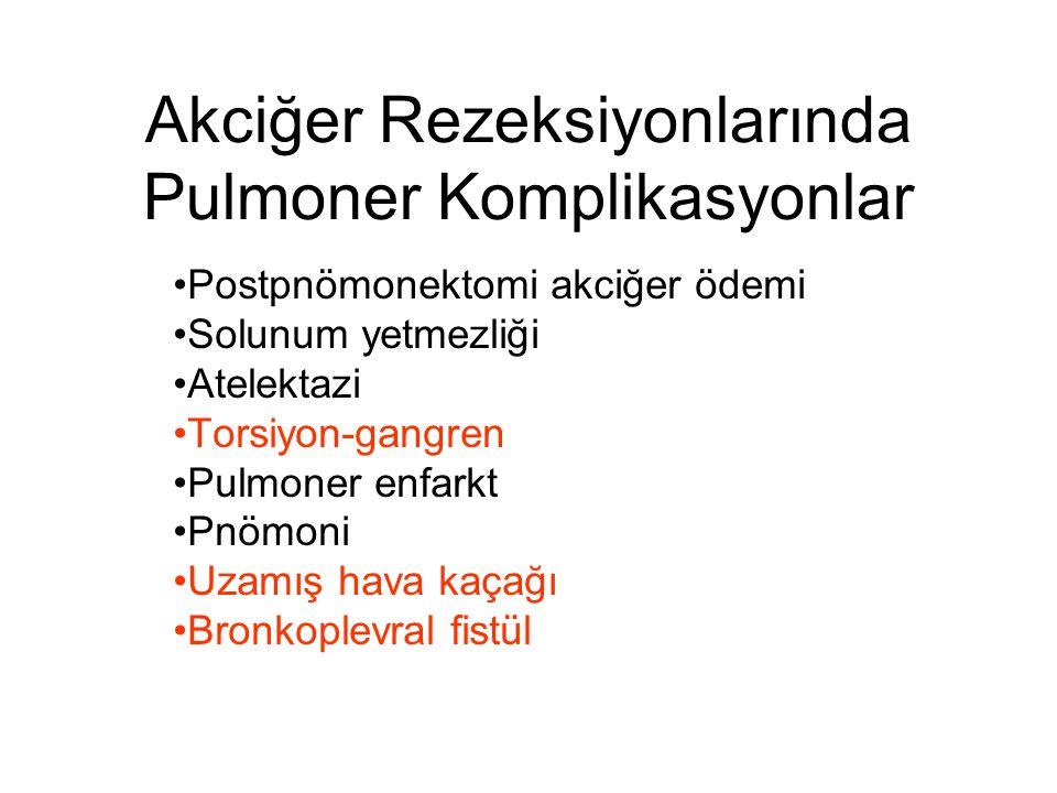 Akciğer Rezeksiyonlarında Pulmoner Komplikasyonlar