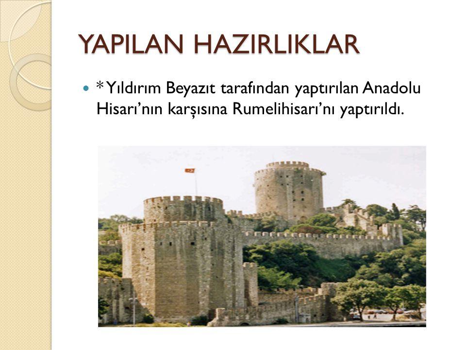 YAPILAN HAZIRLIKLAR * Yıldırım Beyazıt tarafından yaptırılan Anadolu Hisarı'nın karşısına Rumelihisarı'nı yaptırıldı.