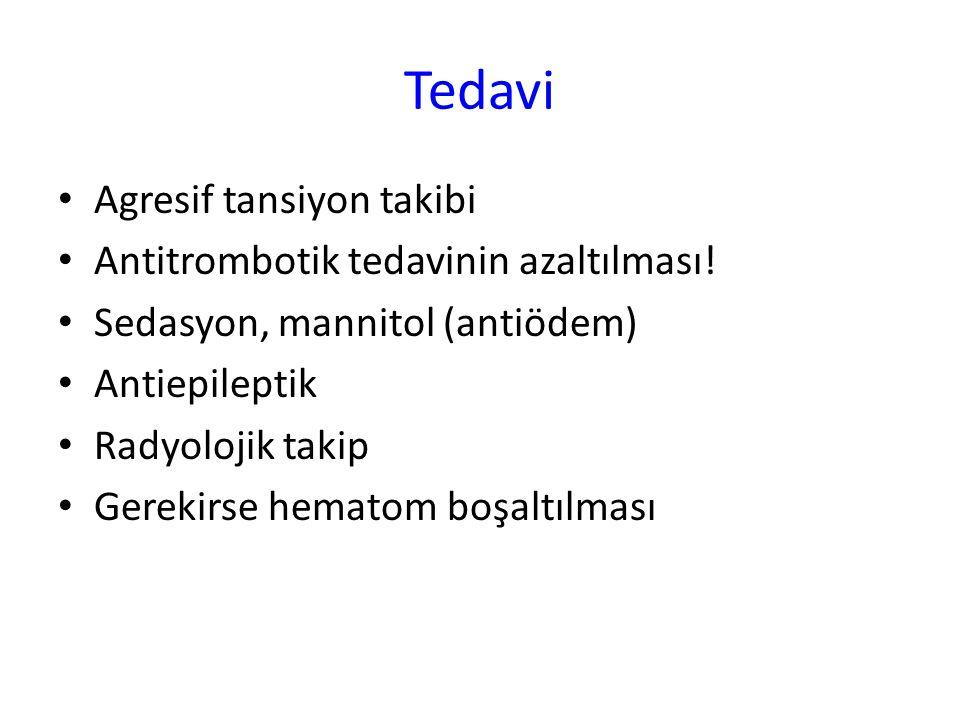 Tedavi Agresif tansiyon takibi Antitrombotik tedavinin azaltılması!