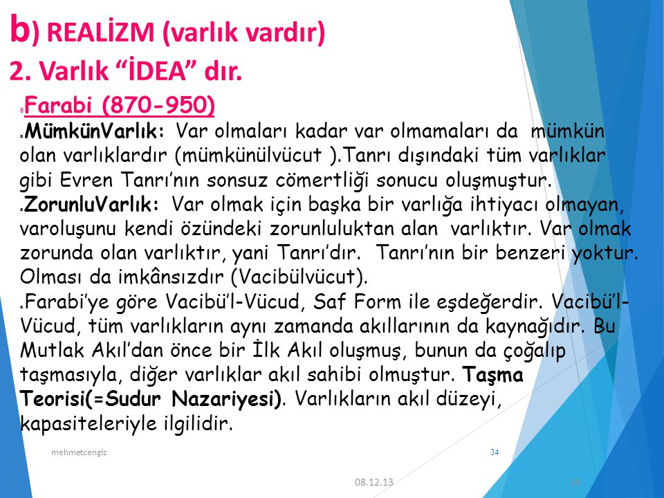 2. Varlık İDEA dır. Farabi (870-950)