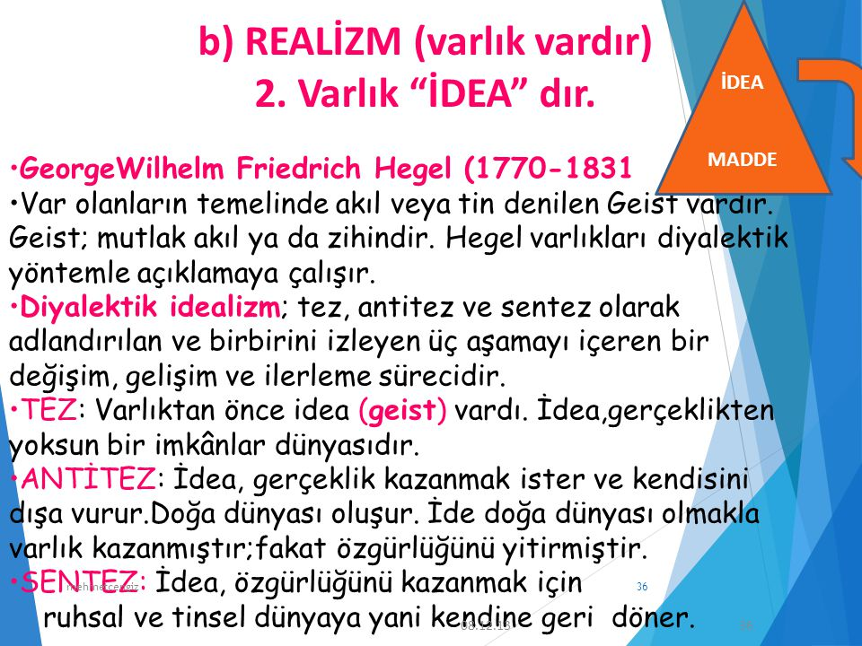2. Varlık İDEA dır. GeorgeWilhelm Friedrich Hegel (1770-1831