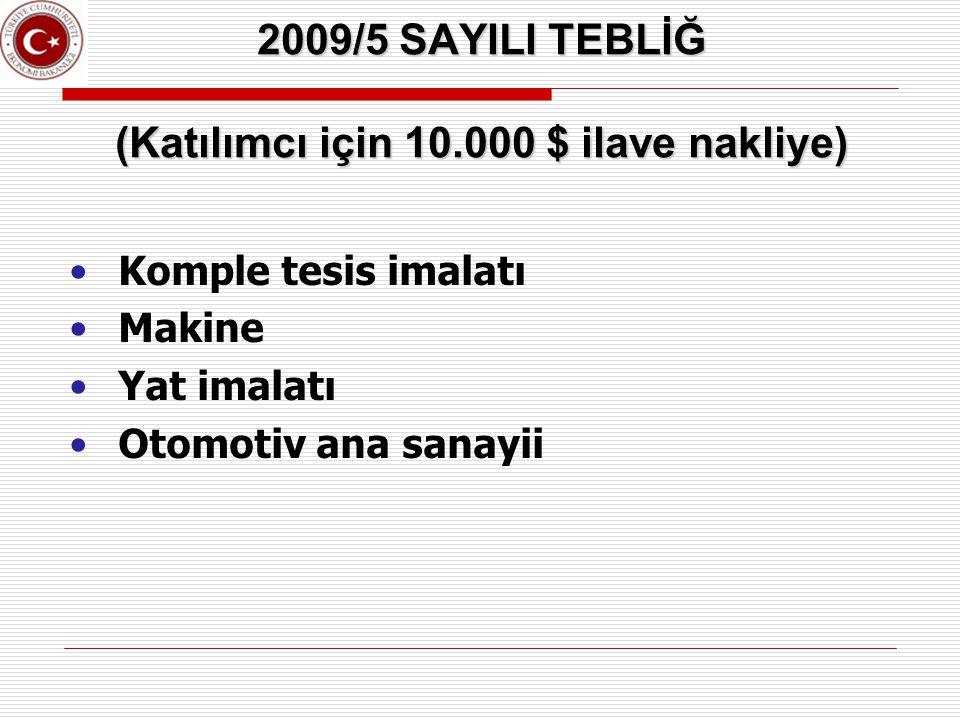 2009/5 SAYILI TEBLİĞ (Katılımcı için 10.000 $ ilave nakliye)