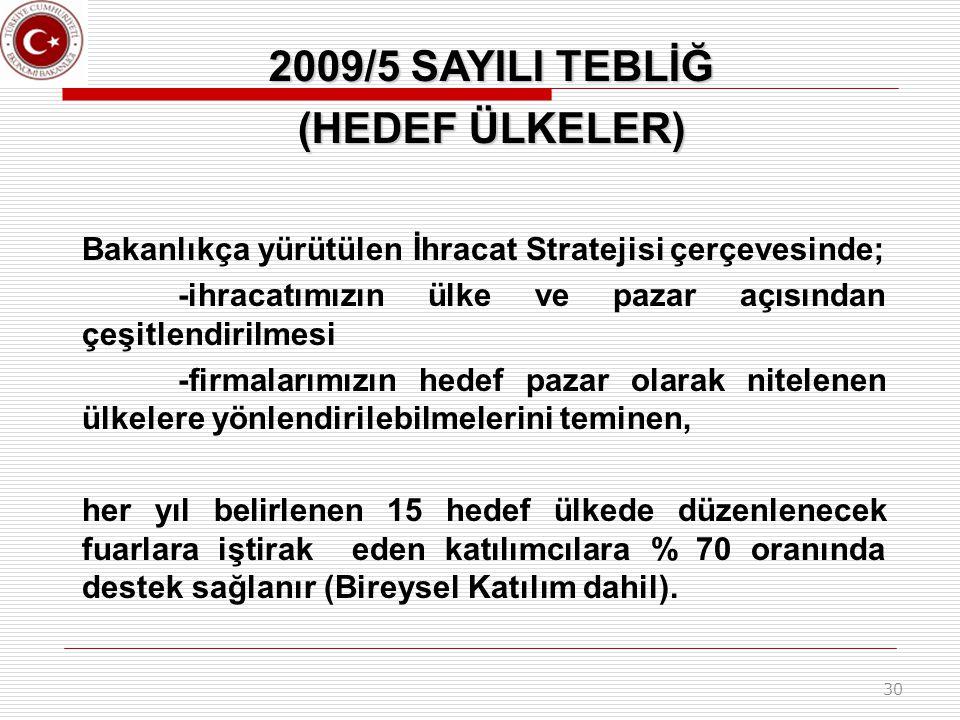 2009/5 SAYILI TEBLİĞ (HEDEF ÜLKELER)
