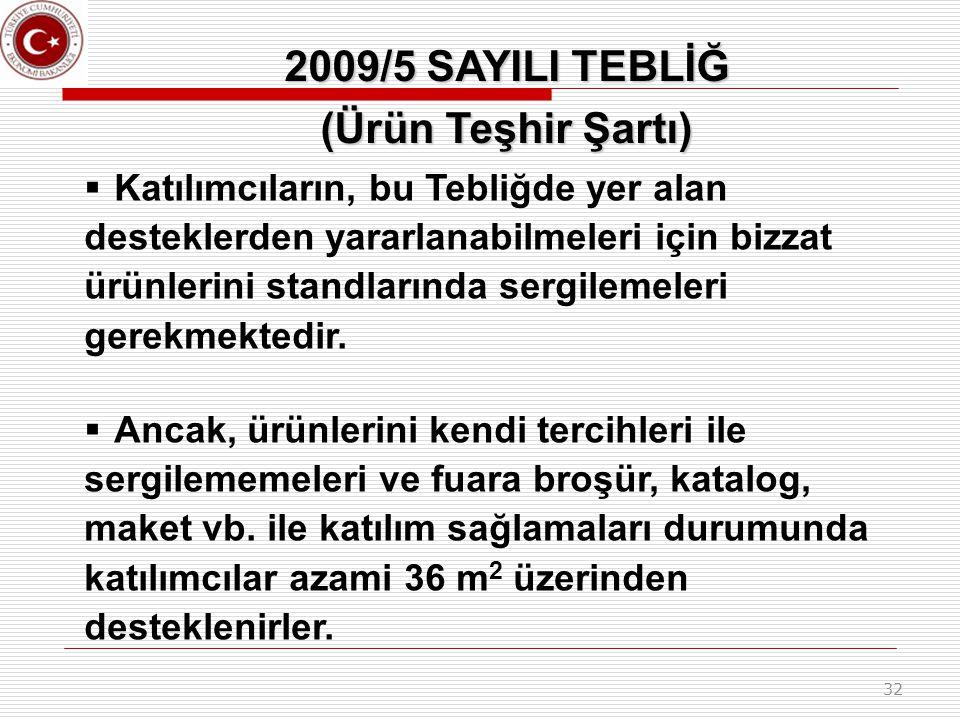 2009/5 SAYILI TEBLİĞ (Ürün Teşhir Şartı)