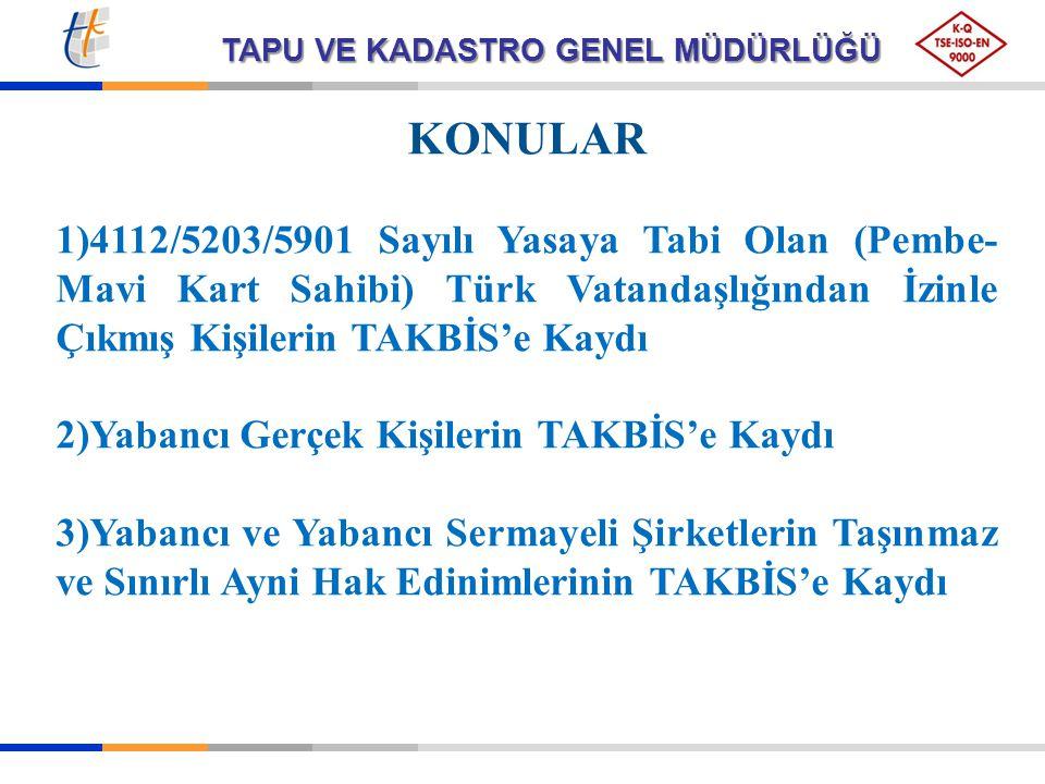 KONULAR 4112/5203/5901 Sayılı Yasaya Tabi Olan (Pembe-Mavi Kart Sahibi) Türk Vatandaşlığından İzinle Çıkmış Kişilerin TAKBİS'e Kaydı.