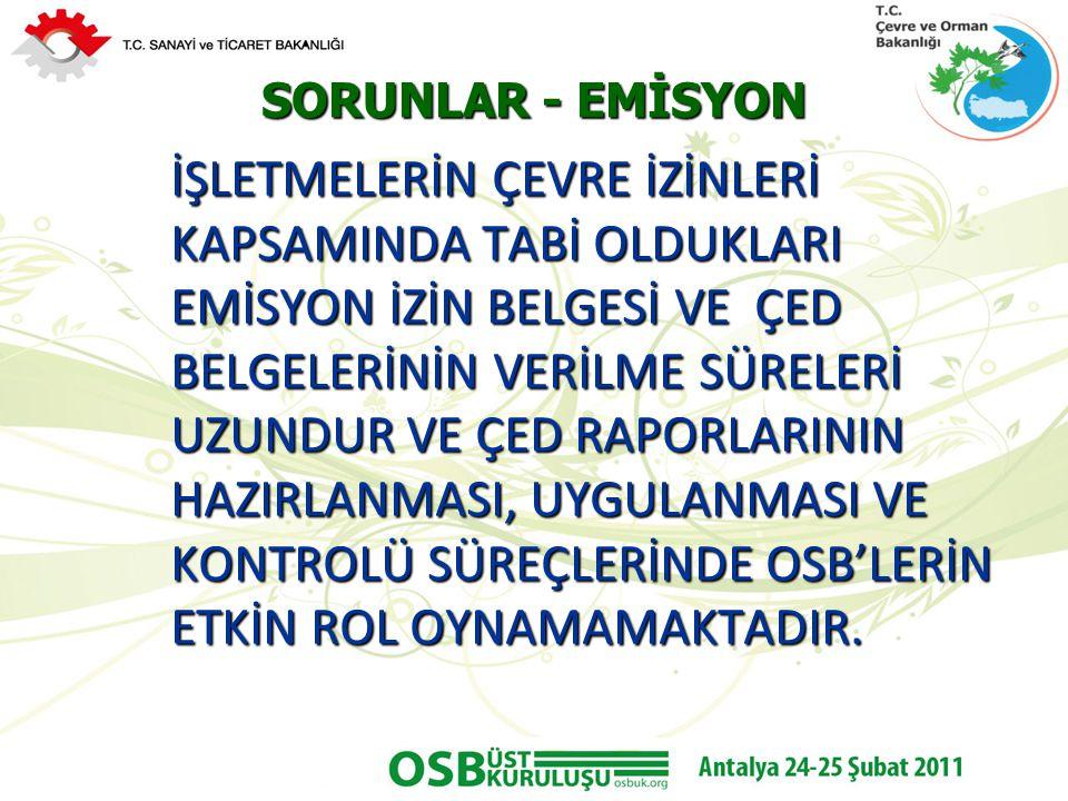 SORUNLAR - EMİSYON