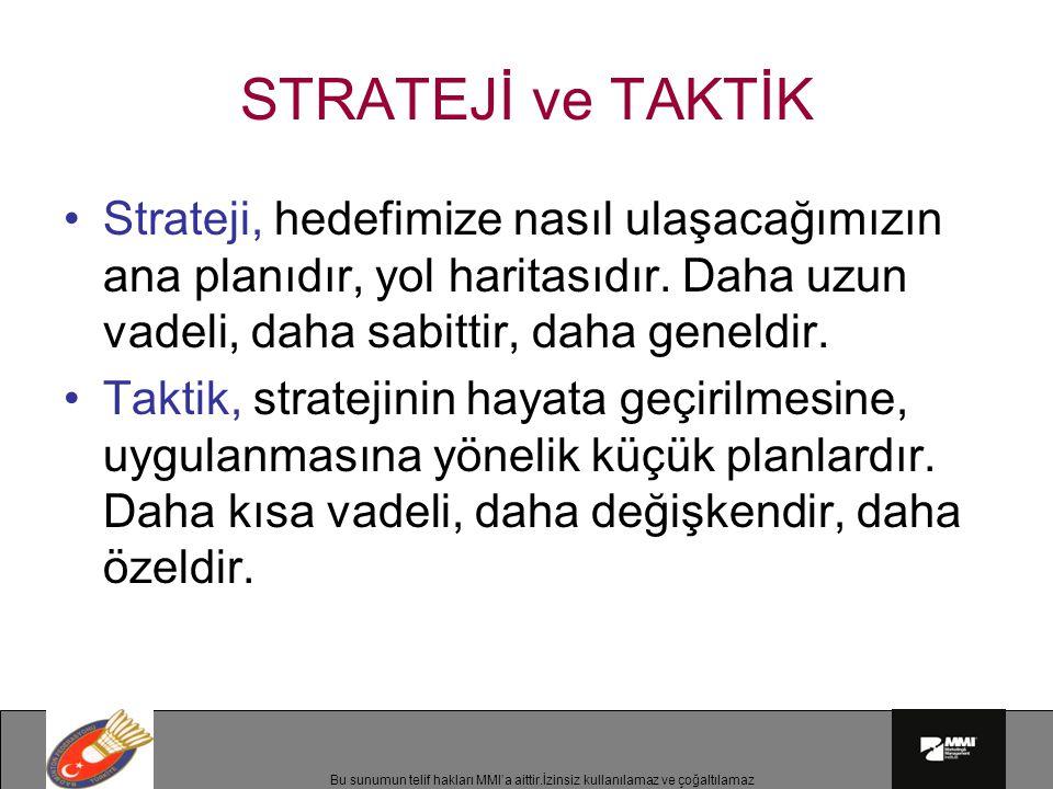 STRATEJİ ve TAKTİK Strateji, hedefimize nasıl ulaşacağımızın ana planıdır, yol haritasıdır. Daha uzun vadeli, daha sabittir, daha geneldir.