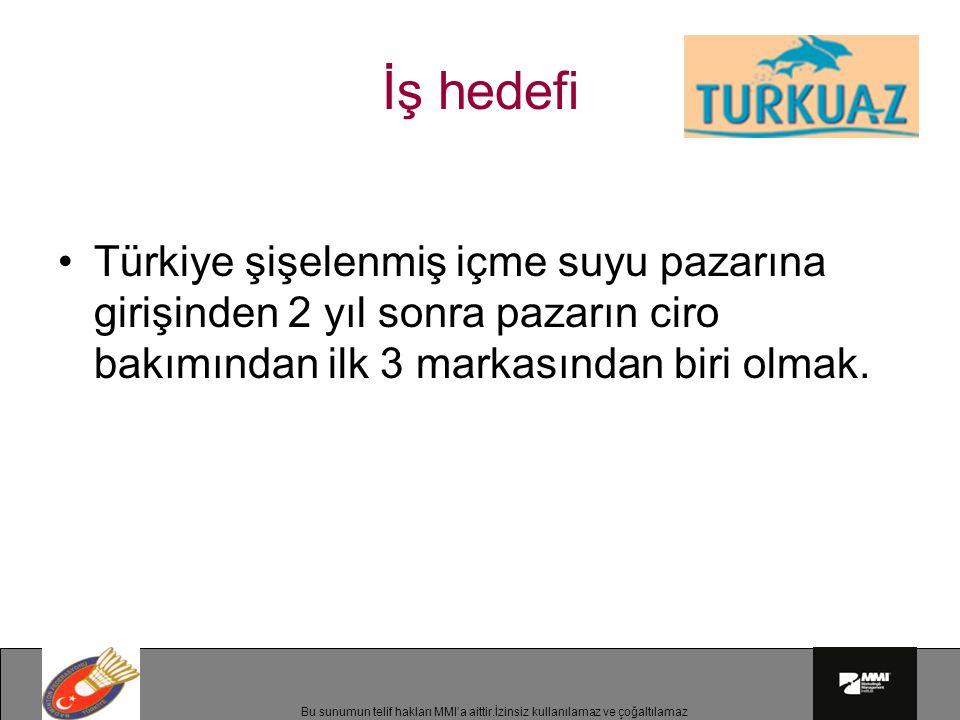 İş hedefi Türkiye şişelenmiş içme suyu pazarına girişinden 2 yıl sonra pazarın ciro bakımından ilk 3 markasından biri olmak.