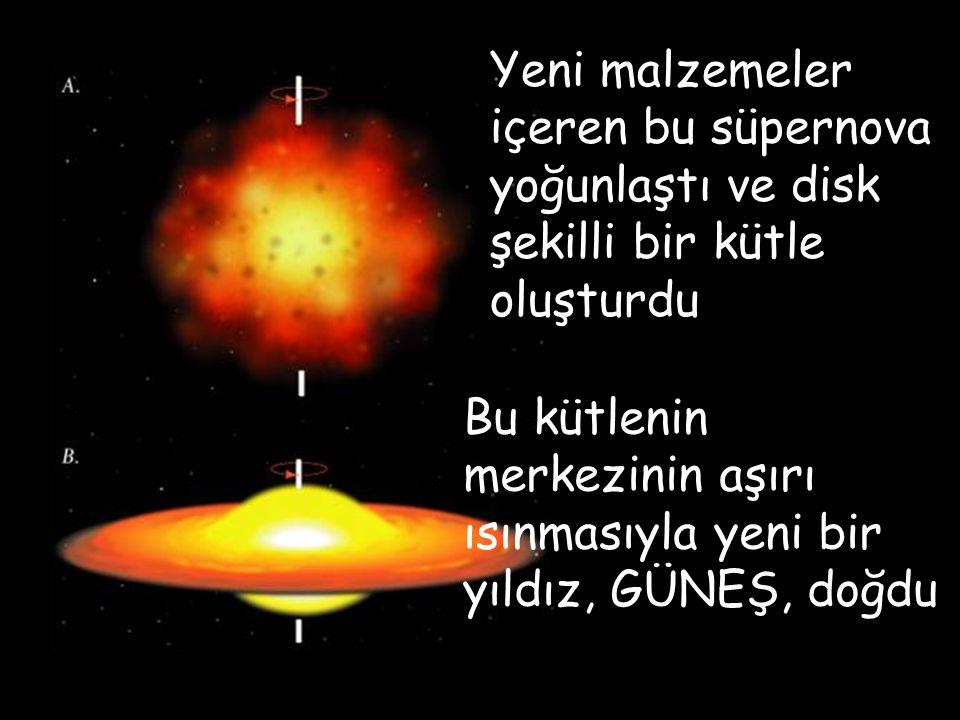Yeni malzemeler içeren bu süpernova yoğunlaştı ve disk şekilli bir kütle oluşturdu