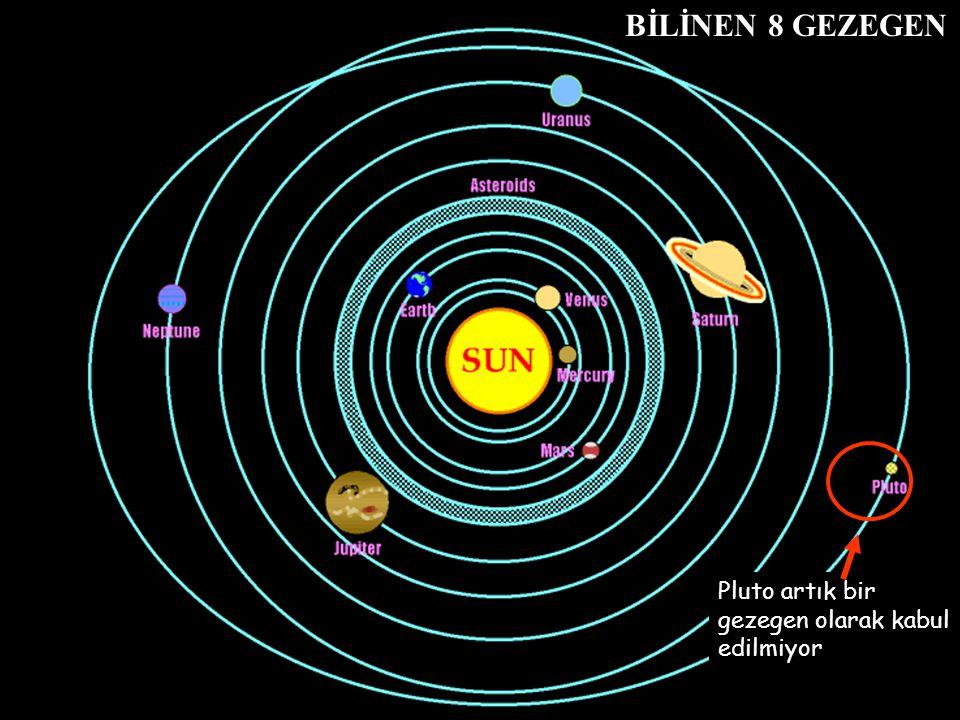 BİLİNEN 8 GEZEGEN Pluto artık bir gezegen olarak kabul edilmiyor