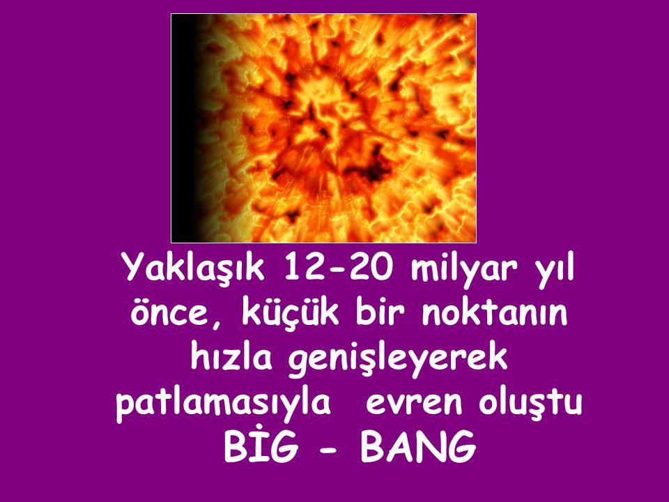 Yaklaşık 12-20 milyar yıl önce, küçük bir noktanın hızla genişleyerek patlamasıyla evren oluştu