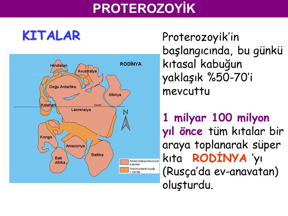 PROTEROZOYİK KITALAR. Proterozoyik'in başlangıcında, bu günkü kıtasal kabuğun yaklaşık %50-70'i mevcuttu.