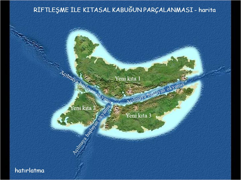 RİFTLEŞME İLE KITASAL KABUĞUN PARÇALANMASI - harita