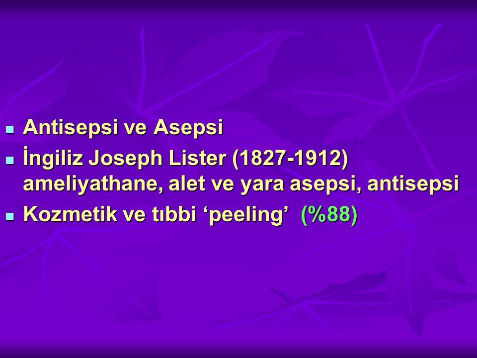 Antisepsi ve Asepsi İngiliz Joseph Lister (1827-1912) ameliyathane, alet ve yara asepsi, antisepsi.