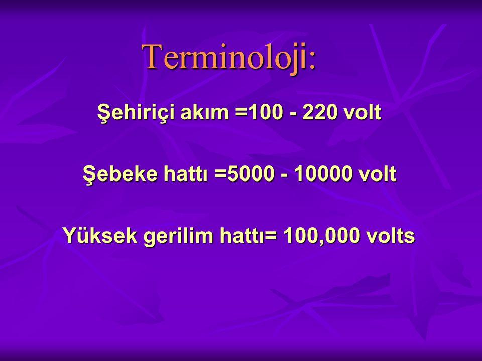 Yüksek gerilim hattı= 100,000 volts