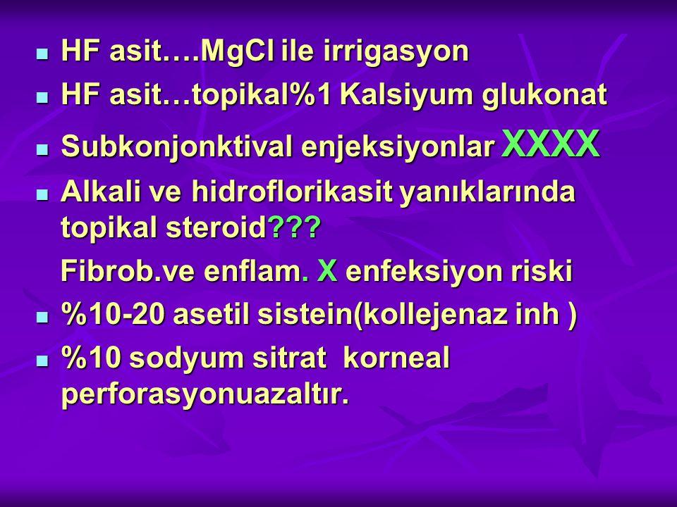 HF asit….MgCl ile irrigasyon