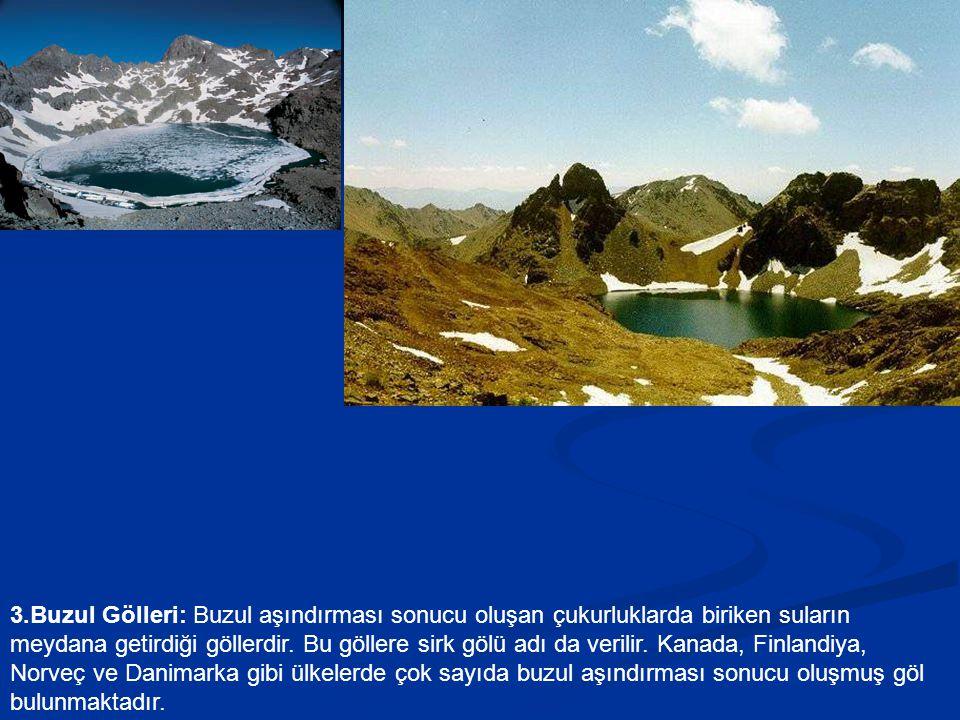 3.Buzul Gölleri: Buzul aşındırması sonucu oluşan çukurluklarda biriken suların meydana getirdiği göllerdir.