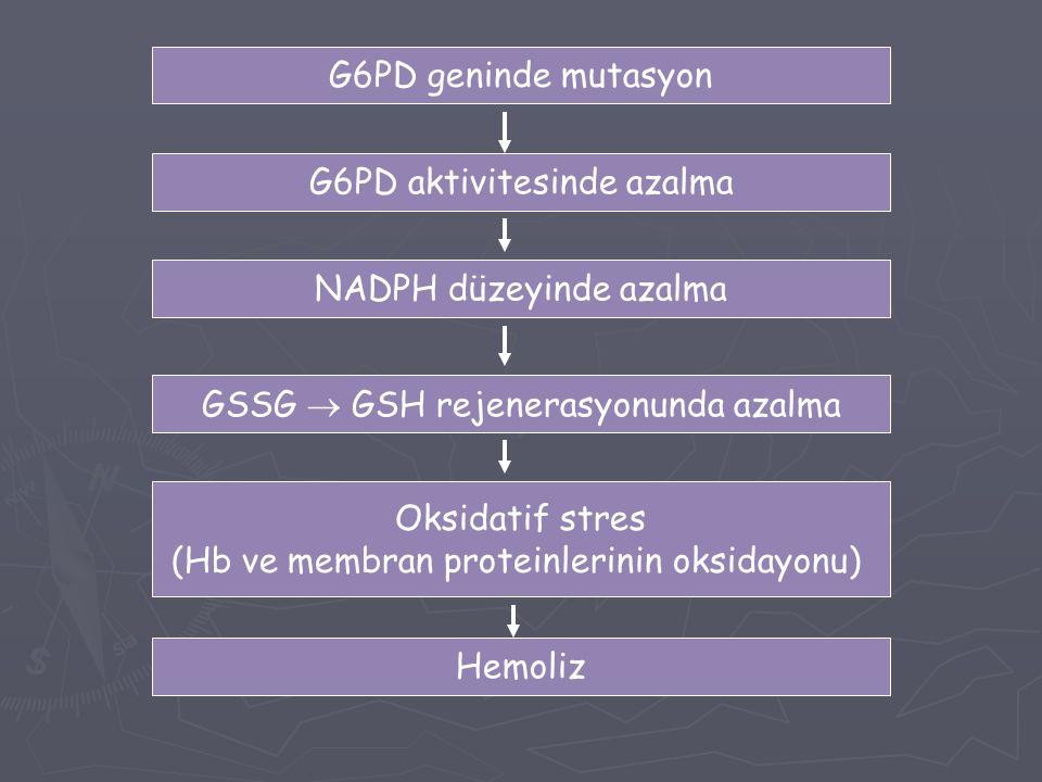 G6PD aktivitesinde azalma
