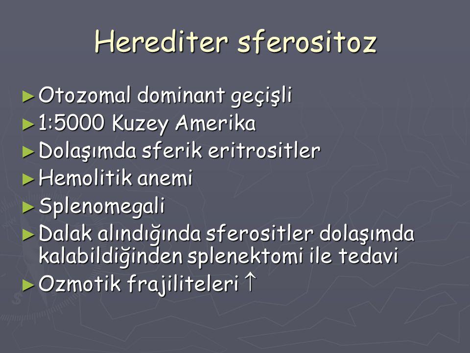 Herediter sferositoz Otozomal dominant geçişli 1:5000 Kuzey Amerika