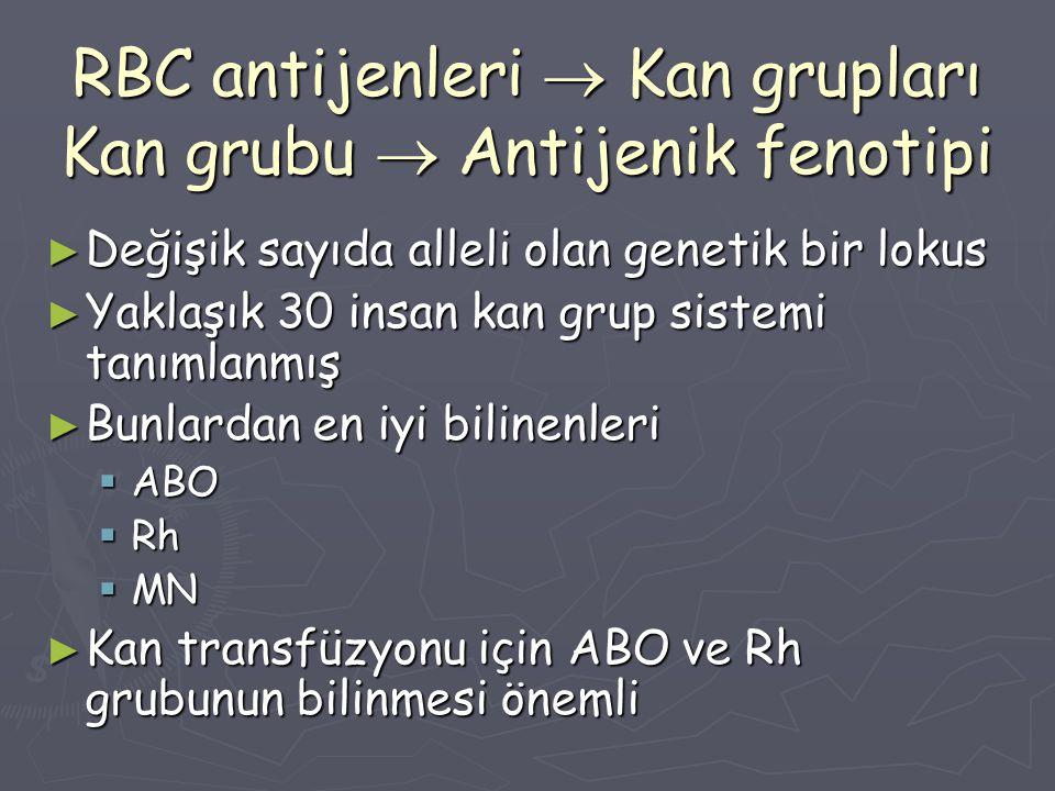 RBC antijenleri  Kan grupları Kan grubu  Antijenik fenotipi