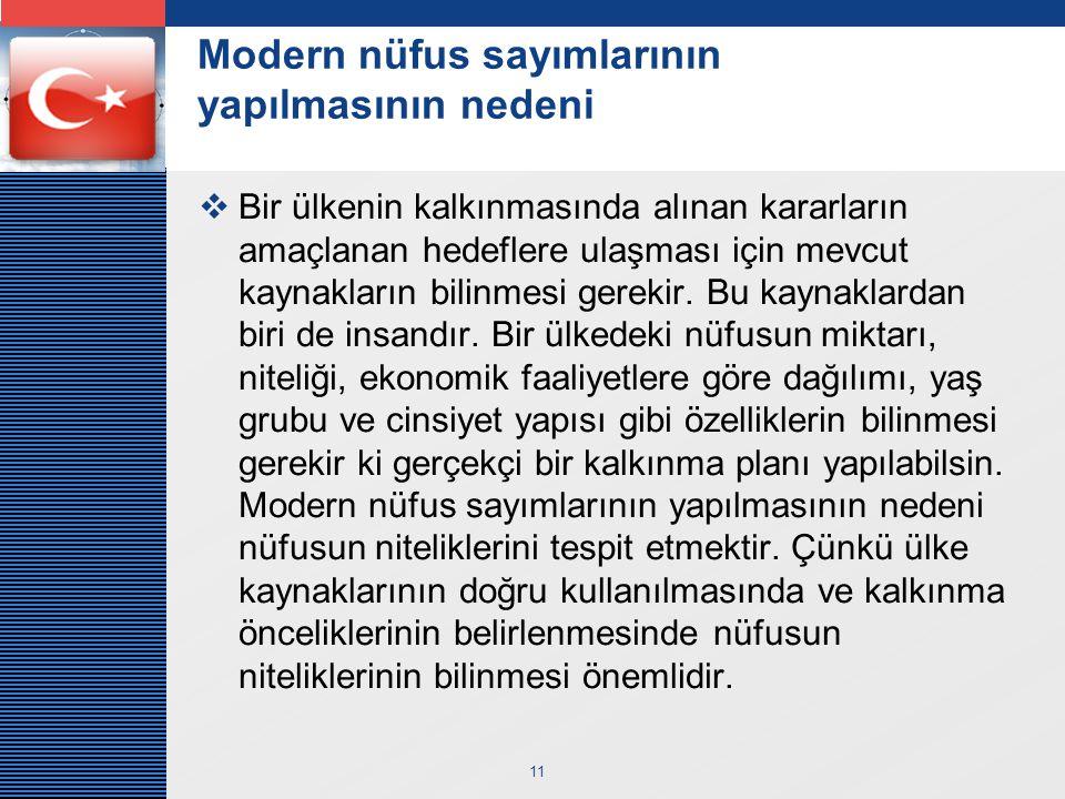 Modern nüfus sayımlarının yapılmasının nedeni