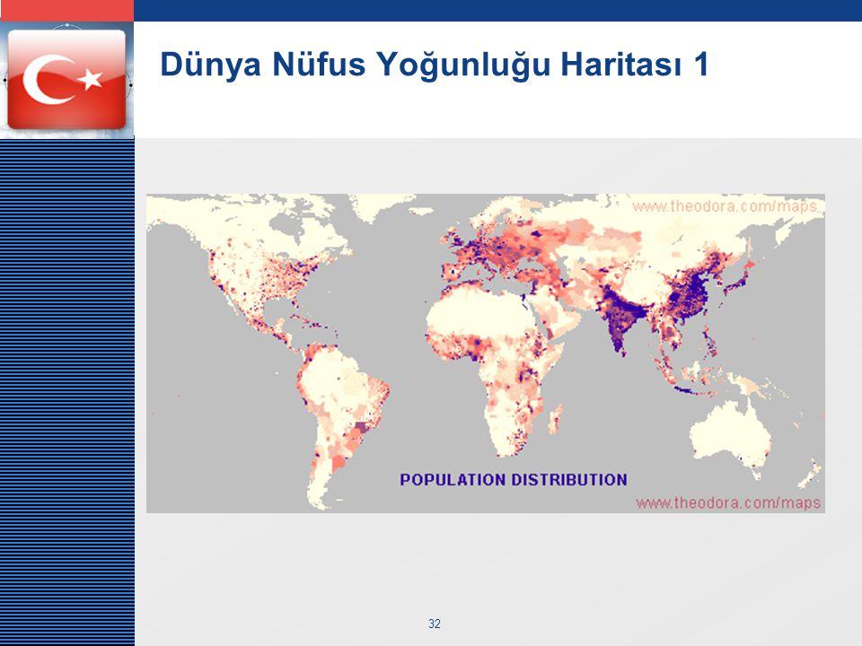 Dünya Nüfus Yoğunluğu Haritası 1