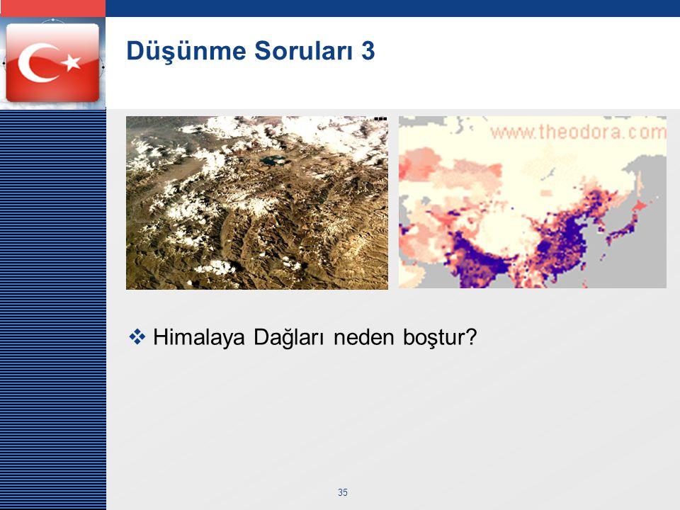 Düşünme Soruları 3 Himalaya Dağları neden boştur