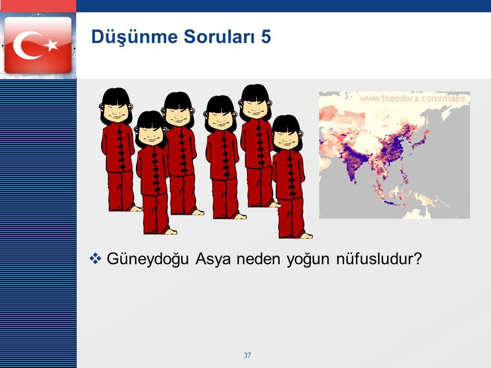 Düşünme Soruları 5 Güneydoğu Asya neden yoğun nüfusludur