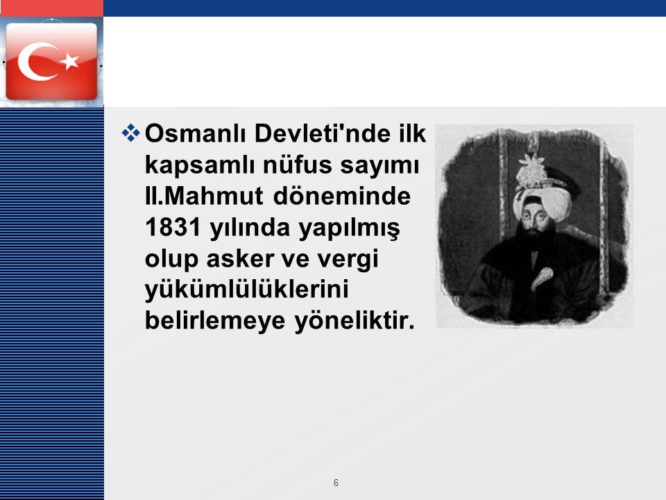 Osmanlı Devleti nde ilk kapsamlı nüfus sayımı II