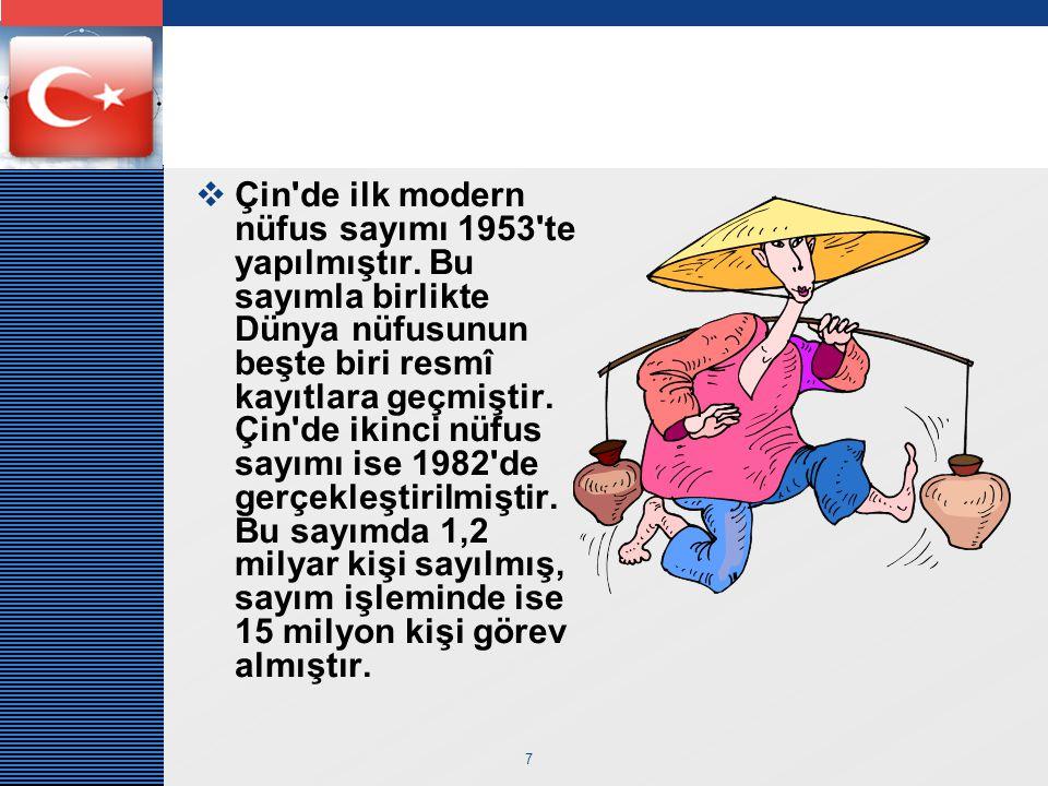 Çin de ilk modern nüfus sayımı 1953 te yapılmıştır