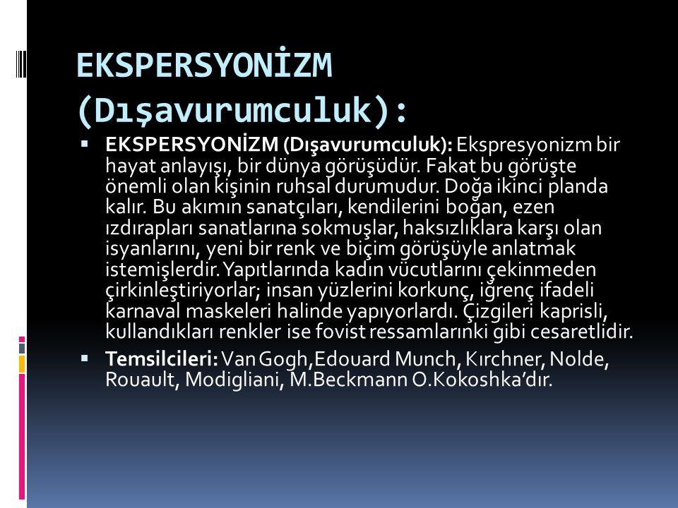 EKSPERSYONİZM (Dışavurumculuk):