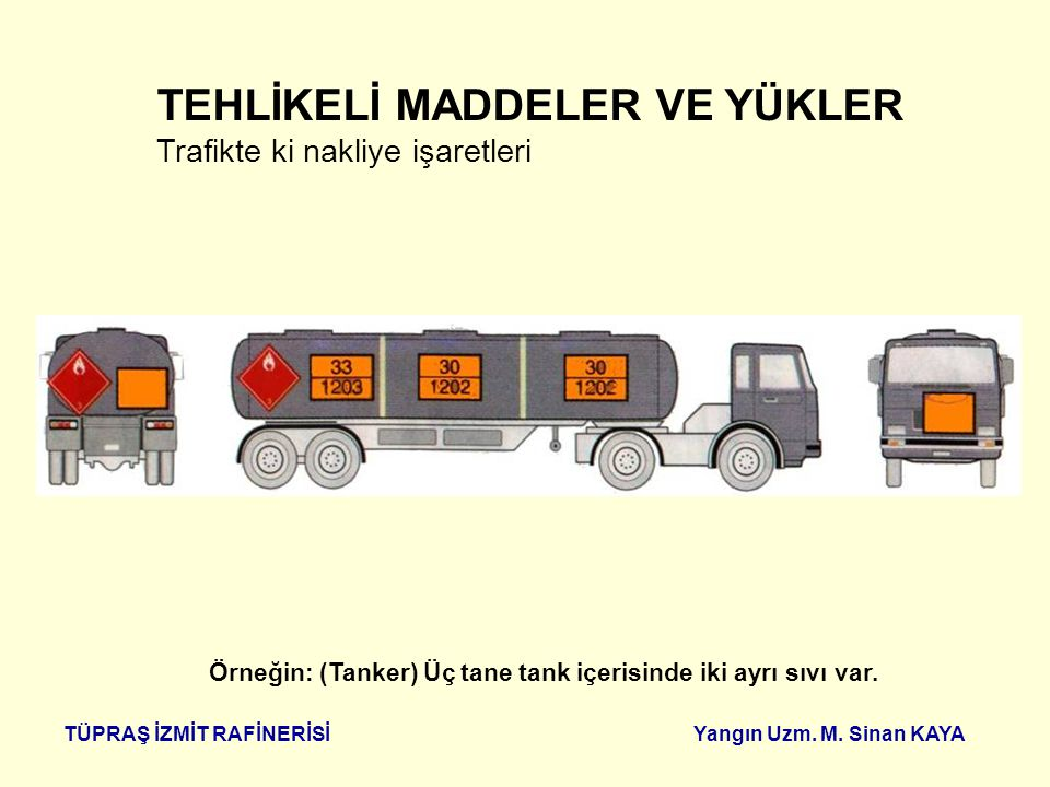 Örneğin: (Tanker) Üç tane tank içerisinde iki ayrı sıvı var.