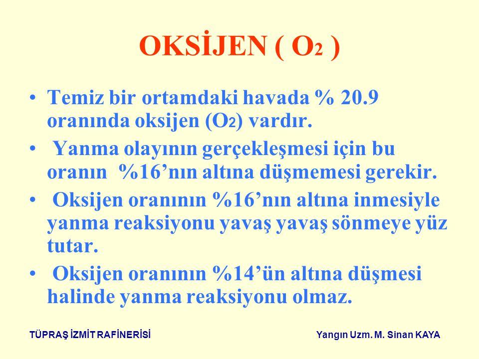 OKSİJEN ( O2 ) Temiz bir ortamdaki havada % 20.9 oranında oksijen (O2) vardır.
