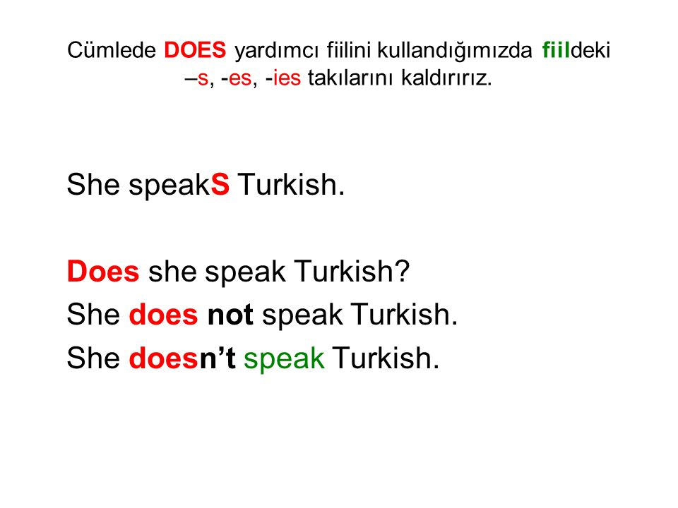 She does not speak Turkish. She doesn't speak Turkish.