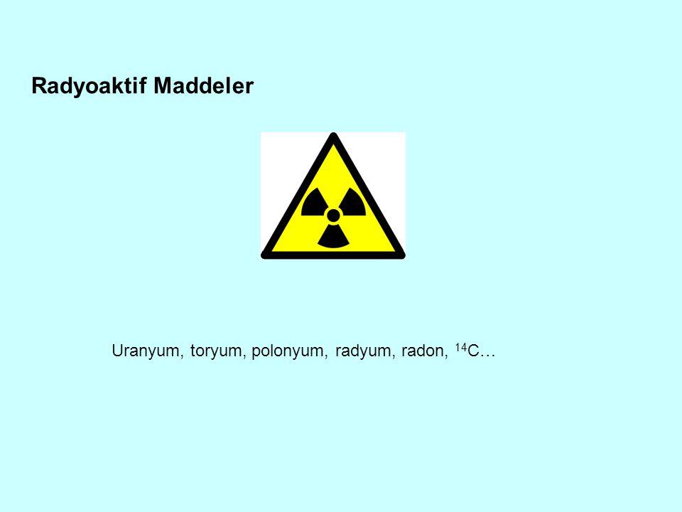 Radyoaktif Maddeler Uranyum, toryum, polonyum, radyum, radon, 14C…