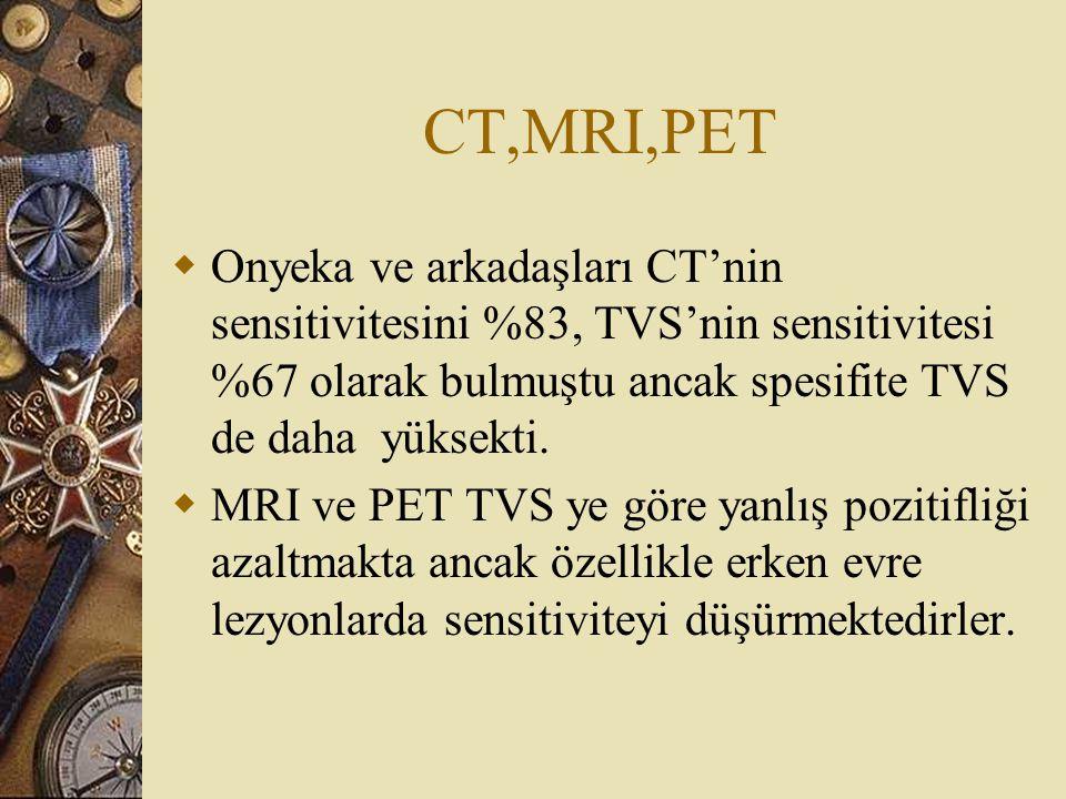 CT,MRI,PET Onyeka ve arkadaşları CT'nin sensitivitesini %83, TVS'nin sensitivitesi %67 olarak bulmuştu ancak spesifite TVS de daha yüksekti.