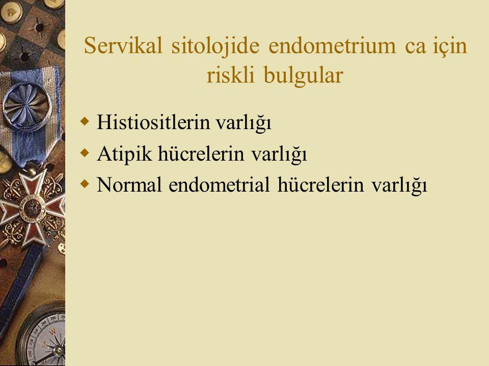 Servikal sitolojide endometrium ca için riskli bulgular