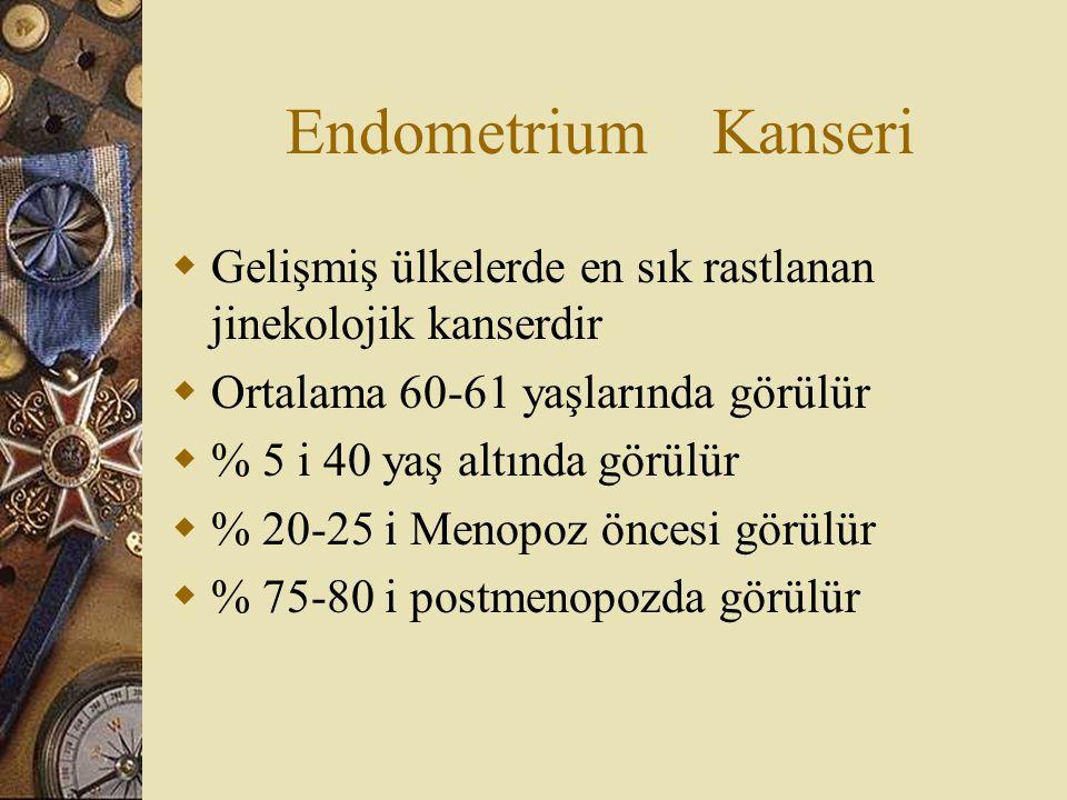 Endometrium Kanseri Gelişmiş ülkelerde en sık rastlanan jinekolojik kanserdir. Ortalama 60-61 yaşlarında görülür.