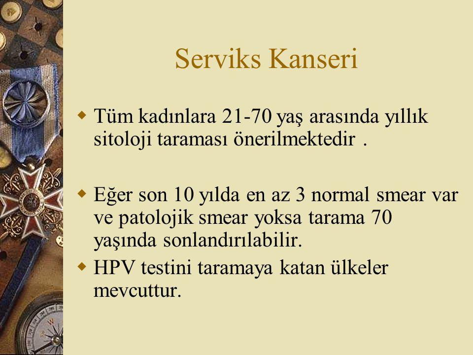 Serviks Kanseri Tüm kadınlara 21-70 yaş arasında yıllık sitoloji taraması önerilmektedir .