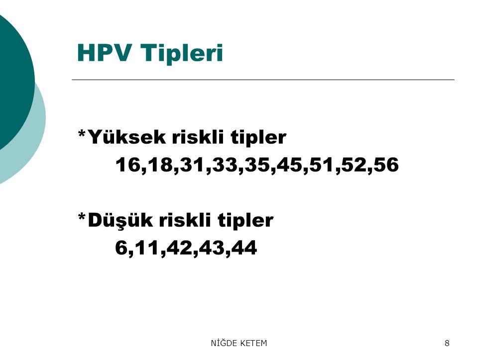 HPV Tipleri *Yüksek riskli tipler 16,18,31,33,35,45,51,52,56
