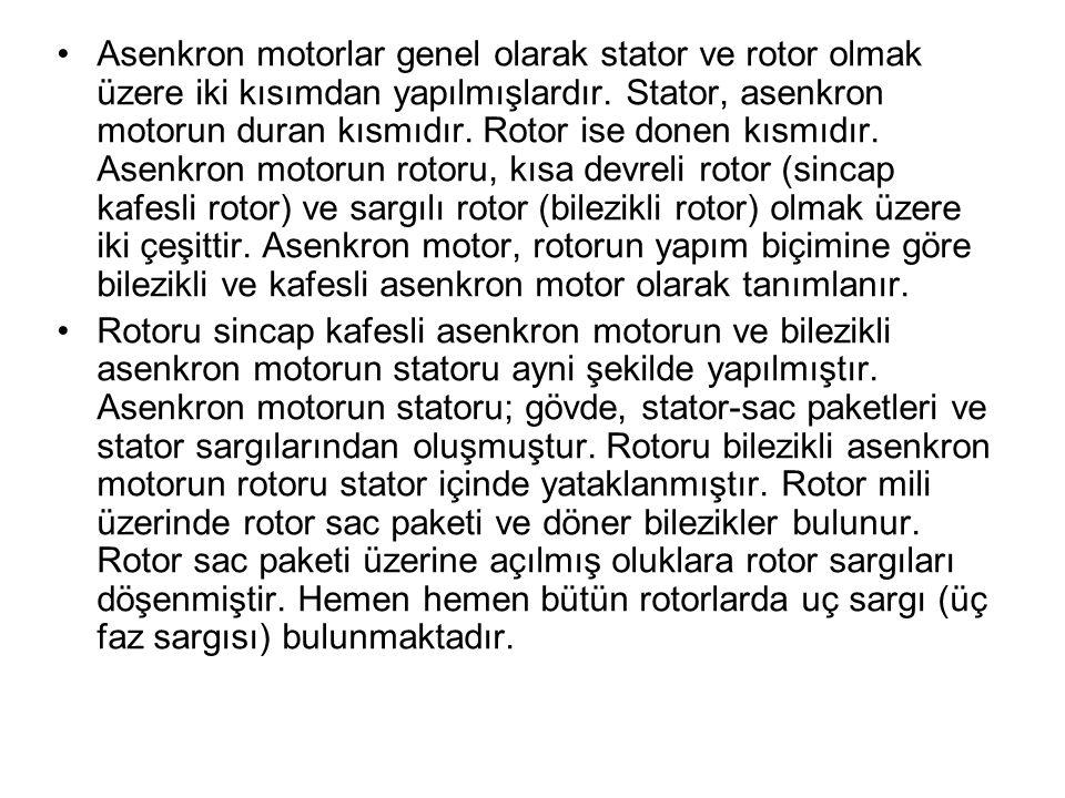Asenkron motorlar genel olarak stator ve rotor olmak üzere iki kısımdan yapılmışlardır. Stator, asenkron motorun duran kısmıdır. Rotor ise donen kısmıdır. Asenkron motorun rotoru, kısa devreli rotor (sincap kafesli rotor) ve sargılı rotor (bilezikli rotor) olmak üzere iki çeşittir. Asenkron motor, rotorun yapım biçimine göre bilezikli ve kafesli asenkron motor olarak tanımlanır.