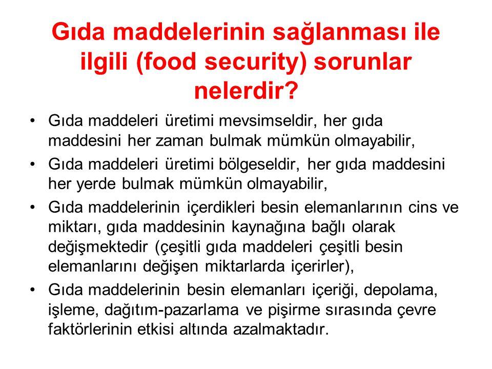 Gıda maddelerinin sağlanması ile ilgili (food security) sorunlar nelerdir