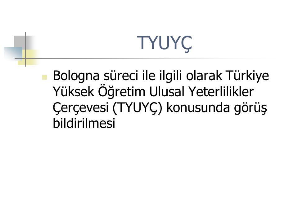 TYUYÇ Bologna süreci ile ilgili olarak Türkiye Yüksek Öğretim Ulusal Yeterlilikler Çerçevesi (TYUYÇ) konusunda görüş bildirilmesi.